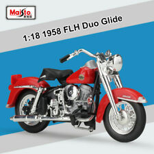 New Maisto 1:18 Harley-Davidson 1958 FLH Duo Glide Motorcycle Diecast Model Toys