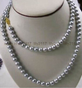 AAA LONG 48 INCH 9-10MM NATURAL SOUTH SEA GENUINE GRAY PEARL NECKLACE 14K