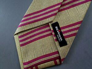 NWOT $295 KITON NAPOLI 7-Fold Magenta & Gold Striped Twill Silk Tie