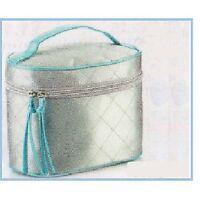 Avon Vanity Case - Blue & Silver Polysatin Make-up Bag for Cosmetics/Toiletries