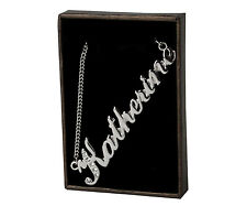"Gold Plated -Made With Swarovski Elements Name Necklace ""Katherine"" - 18ct White"