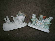 CHRISTMAS SET OF 2 DECORATIONS 1 IS A MUSICBOX NORTHPOLE FIRE DEPT + SLEIGHWORKS