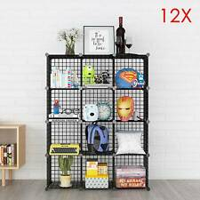 12 Cube Wire Grid Unit DIY Shelving Bookcase Shelf Storage Display Cabinet