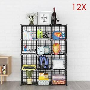 12 Cube Wire Grid Unit DIY Shelving Bookcase Shelf Storage Display Cabinet