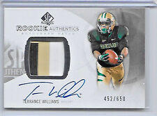 2013 UD SP AUTHENTIC FOOTBALL TERRANCE WILLIAMS ROOKIE AUTO 3 COLOR PATCH /650