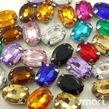 50pcs Mixed Colors Plated Cup Loose Rhinestone Beads Sewing Craft Embellishment
