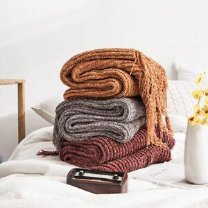 Luxury Chunky Tassel Throw Knitted Blanket Sofa Bed Car Home Rug Nap 130x160cm