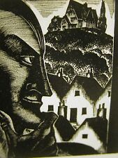Lynd Ward 1930 STRANGE LOOKING MAN - HOUSE on HILL Art Deco Print Matted