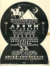 Zigarette Assuh Dresden Raklame von 1925 Cortý Adler Pyramide Halbmond Ägypten