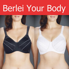 AUTHENTIC BERLEI FULL SUPPORT SPORTS UNDERWIRE NON-PADDED BRA BLACK WHITE Y533WB