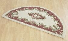 Royal Rose Cream Half Moon Chinese Aubusson Handtufted 100% Wool Rug 69x137cm