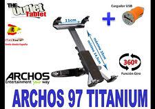 * SOPORTE REPOSACABEZAS PARA TABLET ARCHOS 97 10.1 ARNOVA + CARGADOR USB