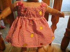 Handmade Bitty Baby Girl  pink& white checked seersucker sundress w fruit 412