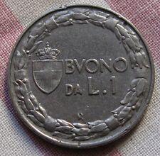 Buono da 1 Lira Nichelio -Stemma Coronato Italia seduta - C - 1923  -nr.537