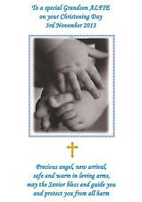 Personalised A5 Christening Baptism Naming Day Card Blue Son Grandson Godson Bro