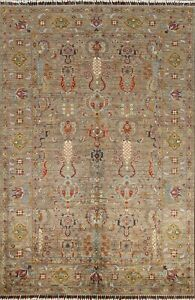 All-Over Floral Vegetable Dye Muted Green Ziegler Oriental Area Rug Wool 6x8 ft.