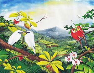 Hand painting Balinese Jalak Bali White Starling Parakeet 287