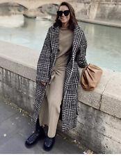 Zara Check Wool Coat With Belt Size S Genuine Zara