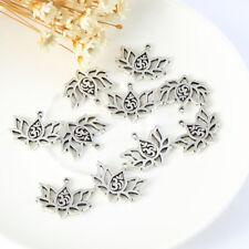 10X Vintage Silver 3D&Lotus Charm Pendant 16*20MM DIY Necklace Bracelet Makinig
