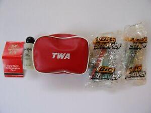 TWA AIRLINES, RED VINYL POUCH,TRANS WORLD AMBASSADOR CLUB MATCHES, 2 BIC RAZORS