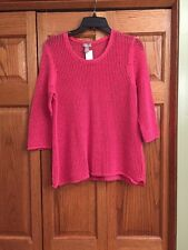 Chicos Top Sweater Orange Loose Weave 3/4 Sleeve Womans Size 2