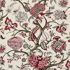 SCALAMANDRE PONDICHERRY JACOBEAN LINEN TOILE FABRIC 5 YARDS RASPBERRY MULTI