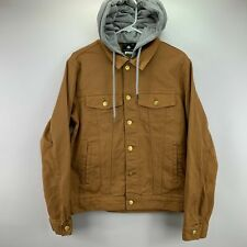 LRG Lifted Research Group Mens Hooded Denim Jacket Tan Brown S