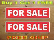 "White on Red FOR SALE 6""x24"" REAL ESTATE RIDER SIGNS Buy 1 Get 1 FREE 2 Sided"