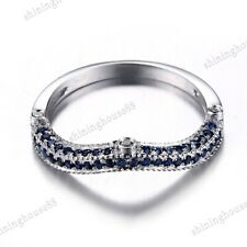 0.3CT Real Diamond &Sapphires Solid 10k White Gold Wedding Anniversary Band Ring