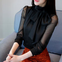 New Women Elegant Bow Tie Collar Casual Chiffon Blouse OL Solid Shirt Blouse Top