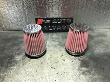 """NISSAN GTR R35 COLD AIR 3"""" INDUCTION INTAKE RED CONE FILTERS 76MM KIT PAIR 08-19"""