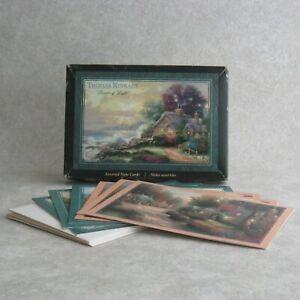 Thomas Kinkade 6 Blank Notecards and Box Cottages Cobblestone Lane 2005 Hallmark