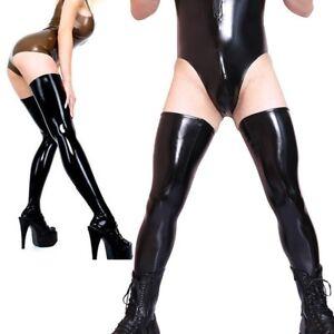 Faux Latex Thigh-Hi Stockings Women Men Sexy Shiny Thigh Tights Dance Clubwear