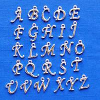 ALPHA1900 Script Alphabet Letter Charms Silver Tone Full Alphabet 26 Charms