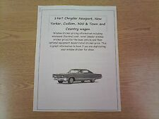 1967 Chrysler full-size factory cost/dealer sticker prices for car & options $