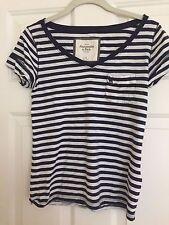 Abercrombie & Fitch Blue & White Stripe V-Neck SS  T-Shirt - Women's Sz XS - EUC