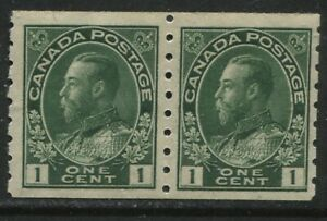 Canada 1912 KGV 1 cent green Admiral Coil pair mint o.g. hinged