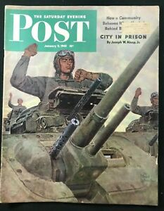 SATURDAY EVENING POST - Jan 9 1943 - Schaeffer Cover / WWII EUROPE / Coke Ad