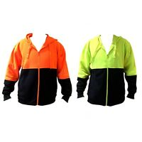 Adult Unisex Mens Hi-Vis Safety Work Wear Hoodie Fleece Full Zip Jumper Jacket