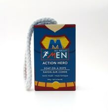 All About Men Soap on a Rope ~ Action Hero Tonic Musk ~ 1 Large Bar 10.5 oz/300g