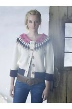 Field Flower Anthropologie Camassia Fair Isle Lambswool Angora Cardigan Sweater
