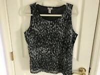 Woman's Chico's easywear size 2 animal print sleeveless lined top
