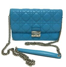 DIOR 'MISS DIOR PROMENADE' BLUE CANNAGE QUILTED CROSSBODY BAG, $2450