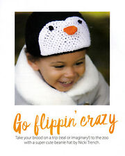 CROCHET PATTERN BABY TODDLER 6-24mnths PENGUIN BEANIE HAT EASY QUICK SCM M11A