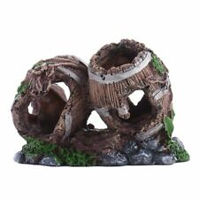 Aquarium Fish Tank Decoration Polyresin Antique Wine Barrels Wood Ornament