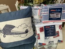 Airplanes Air Mail 6pc Twin Bed Quilt Set Red White Blue Reversible Cotton NEW