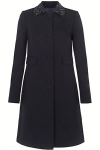 Hobbs Verena Navy Embellished Collar Coat UK Size 8