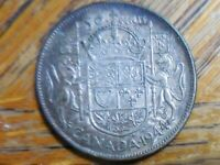 1944 (80% Silver) George VI Canadian Fifty Cent (half dollar)Coin (seller's # 4)