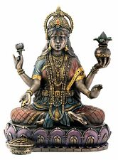 "Bronze Hindu Goddess Lakshmi On Lotus Hinduism Display Statue Figurine 7"" Tall"