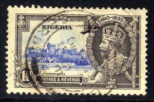 Nigeria 1935 KGV 1 1/2d Blue & Grey Silver Jubilee used SG 30 ( A1441 )